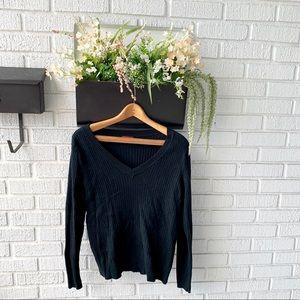 Merona Black Ribbed V-Neck Sweater Size XXL